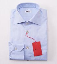 NWT $795 KITON NAPOLI Sky Blue Oxford Cotton Dress Shirt 17 x 36 Modern-Fit
