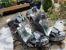 White House Black Market Women Sandals Black & White Snake Print Wedge Heel UK 6