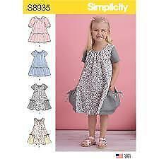 Simplicity Sewing Pattern 8935 Girls Child Dress Size 3-8 Uncut
