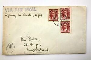 1942 FFC Air Mail Sydney Nova Scotia To Gander Newfoundland Envelope 559C