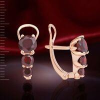 Ohrringe mit Granat Rose Rotgold Gold 585/14 kt Neu Glänzend