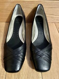 Womens K By Clarks Black Leather Size 7 Court Shoes