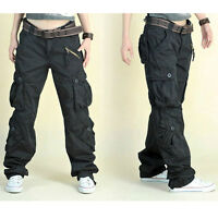 Women's Cargo Hip Hop Trousers Pants Loose Outdoor Military Pocket Vintage Black