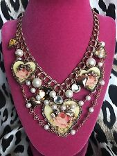 Betsey Johnson Vintage Think Of Me Pink Rose Copper Gold Heart Cameo Necklace