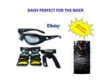 Daisy Motorcycle Googles Glasses - MATT BLACK FRAME - Free Mask 3D Clown  DM29