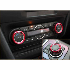 Fit for Mazda3 Mazda6 cx-5 cx-9 Red Air-Condition AC Adjust Buttons Ring trim