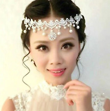 Bridal Festival Hippy Boho Lace Pearl Headpiece Hair chain Crystal Bridesmaids
