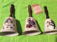 Lot of 3 Norman Rockwell, Love'S Harmony, Santas Helper, Gay Blades Gorham Bells