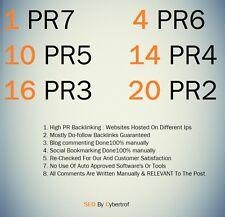 1 PR7, 4 PR6, 10 PR5, 14 PR4, 16 PR3, 20 PR2 Do follow 100% Safe Seo Backlinks