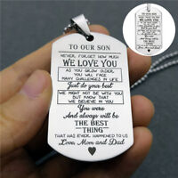 HN- TO MY SON/DAUGHTER MOM DAD Stainless Steel Pendant Necklace Keychain Key Rin