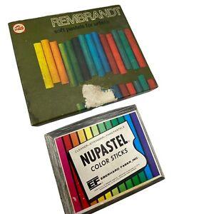 Vtg Art Supply Lot Rembrandt Soft Pastels Nupastel Color Sticks Used