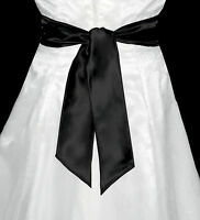 New BLACK Satin Wedding Fancy Dress Party Sash Tie Belt Tie Band Bridesmaid Bow