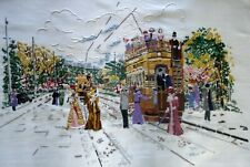 Hand Embroidered Unframed Linen Picture Victorian Street Tram Station