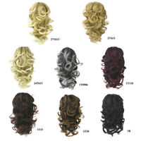 Womens Casual Curly Wavy Short Hairpiece Claw Clip-on Casplay Hair Extensions US