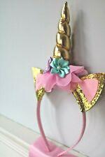 UNICORN Birthday Princess Gold Glitter Unicorn Headband + Pink Satin Sash Set