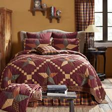 Folkways Star 100% Cotton Primitive Patchwork King Quilt Burgundy/Black/Tan VHC