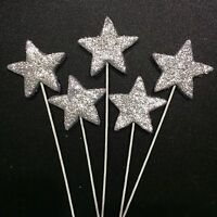 Silver Stars On Wire Edible Sugar Cake Toppers -Each $1