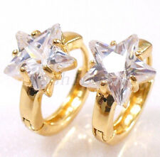 fashion1uk Women Simulated Diamond Star 18K Gold Plated Huggie Hoop Earrings
