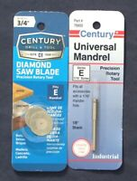 "2 NEW CENTURY TOOLS 3/4"" DIAMOND CUTTING WHEELS WITH MANDREL FITS DREMEL"