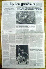 1995 NY Times newspaper TOKYO SUBWAY GAS ATTACK Japan Terrorists AUM SHINRIKYO