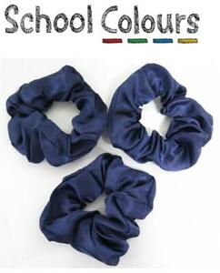 School Colours - 3 Pack Navy Blue School Scrunchies