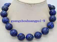 "Hot 12mm Egyptian Lapis Lazuli Dark Blue Round Bead Gemstones necklace 18 ""AAA"