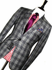 BNWT MENS PAUL SMITH LONDON GREY TARTAN BOX CHECKED TAILOR-MADE SUIT 44R W38