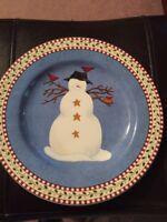 Debbie Mumm Sakura Plate Snack Dessert Snowman Oneida Stoneware Casual Dining