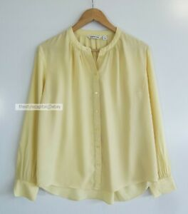 COUNTRY ROAD // Size 8 10 // Lemon Silk Blend Long Sleeve Blouse