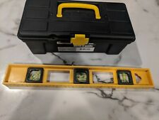 Small Toolbox with Tools - Level, Tape measure, Drill Bits, Scissors, misc