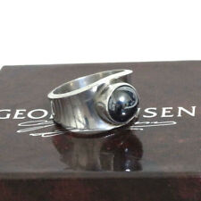 Auth Georg Jensen 124 Hematite Ring Sterling Silver 925 US 8.5 Sz Japan 17 Sz in