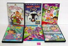 #55 Lot 6 Kids DVDs Happy Feet 2/Muppet Christmas/Dora Explorer X3/Barbie Hero