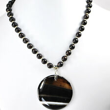 """NY6DESIGN Black Onyx Round Beads & Large Agate Coin Pendant Silver Necklace 19""""*"""