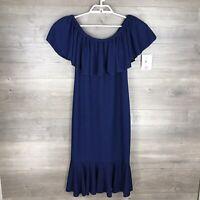 "Lularoe Women's Size Medium Off The Shoulder Ruffle Dress ""Cici"" Blue NEW"