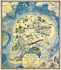 Anti-Prohibition Satiric Map Pleasure Island Joy of Drinking Vintage Wall Poster
