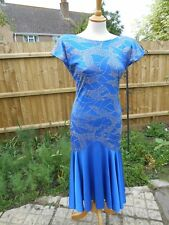 Strictly Come Vintage 80s Dance Dress Blue Silver mini mirrors Size 14  HANDMADE