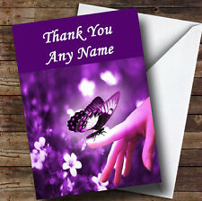 Purple Butterfly Personalised Thank You Greetings Card