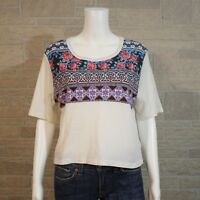 Anthropologie Truly Madly Deeply SMALL Tribal Floral Cropped SS Shirt T-shirt