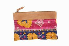Indian Embroidery Vintage Quilt Handmade Boho Kantha Pouch For Woman