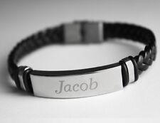 Name Armband JACOB - Herren Leder Geflochtenes Graviert Armband - Mode Geschenke