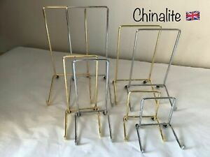Single Plate Display Stand Small Medium Large Very Large in Gold and Chrome.