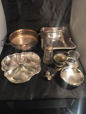 More details for collection of silver plated items and metal items tray urn hat