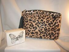 Luminess Air 11x7 Leopard Print Canvas Coated Pouch Makeup Foundation Travel bag
