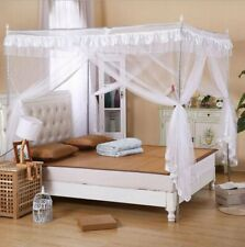 Solid White Ruffled Four 4 Post Bed Canopy Netting Curtains Sheer Panel Any Size