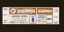 4/8/1969 Houston Astros @ San Diego Padres Full Ticket - Padres First Game