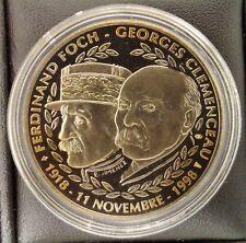 Médaille FOCH ET CLEMENCEAU ARMISTICE 1918-1998 BE  PROOF DORE OR FIN