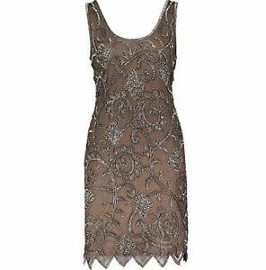 Pisarro Nights Dress Flapper Taupe Flower Sequin Brand New 16