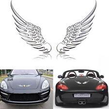 2Pc 3D Metal Angels Wing Car Auto Decoration Emblem Badge Decal Sticker Silver
