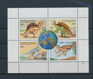 LN23561 Cambodia prehistoric animals dinosaurs good sheet MNH
