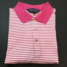 Polo Ralph Lauren Golf Polo Shirt Men's Large Supima Cotton Pink Stripes